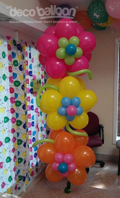 Flower Birthday Balloons- got to remember this one for future birthday parties, showers, spring celebrations, etc.! Easy, cheap yet cute decor!