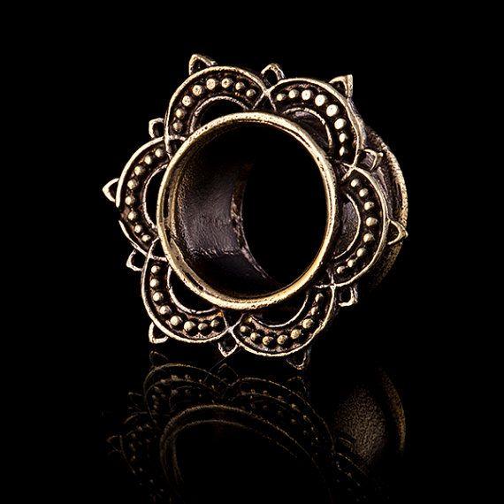 SOLAR Lotus Brass ear tunnels plugsbrass plugsgauge by TRIBALIK