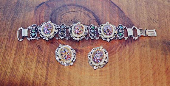 Check out this item in my Etsy shop https://www.etsy.com/ca/listing/482743104/millefiori-bracelet-and-earring-set