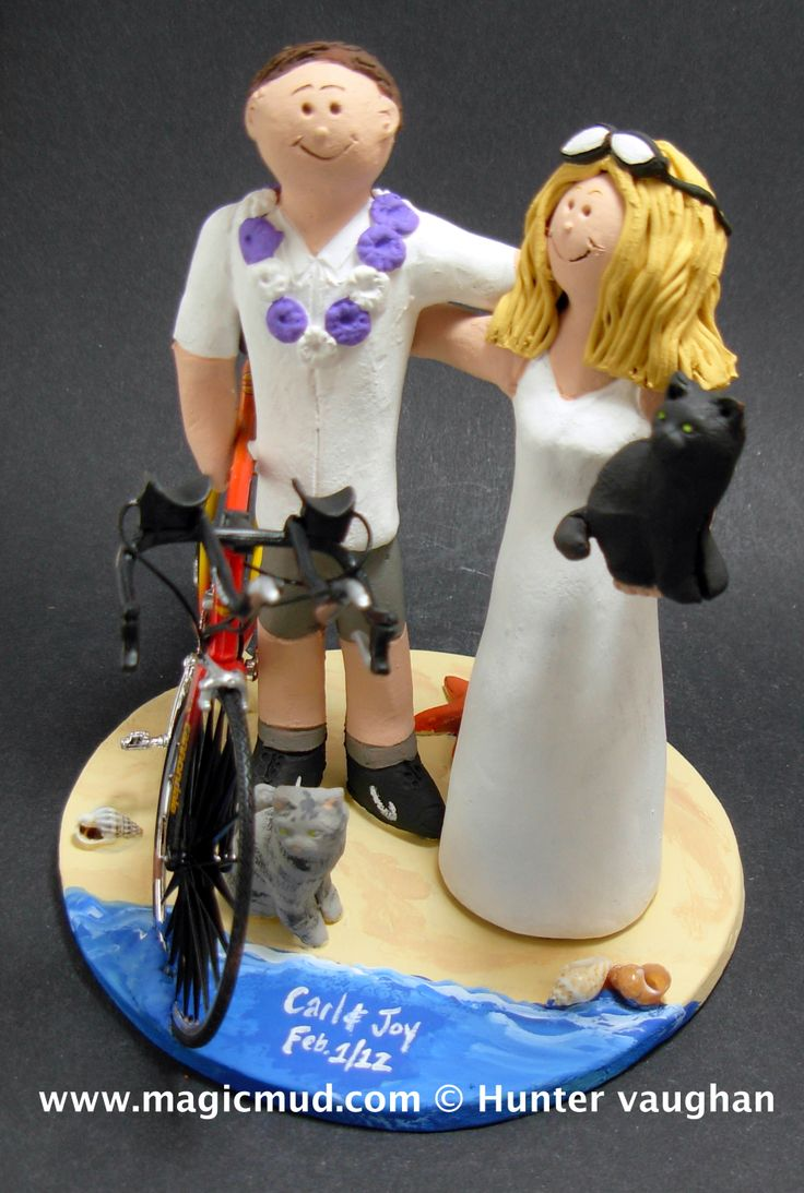 Groom with Lei Wedding Cake Topper by http://www.magicmud.com   1 800 231 9814  magicmud@magicmud.com  http://blog.magicmud.com  https://twitter.com/caketoppers         https://www.facebook.com/PersonalizedWeddingCakeToppers  #bicycle#bike#cyclist#mountain_bike#wedding #cake #toppers  #custom #personalized #Groom #bride #anniversary #birthday#weddingcaketoppers#cake toppers#figurine#gift#wedding cake toppers