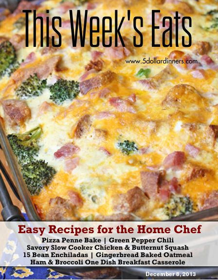 Free Weekly Meal Plan with printable grocery list from 5DollarDinners.com! Pizza Penne Bake, Green Pepper Chili, 15 Bean Enchiladas, Gingerbread Baked Oatmeal and more...