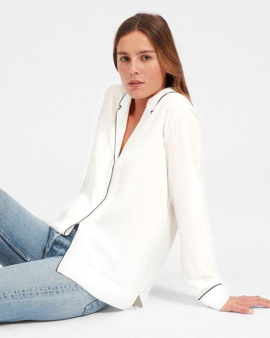 The Piped Silk Notch Collar Shirt - Everlane