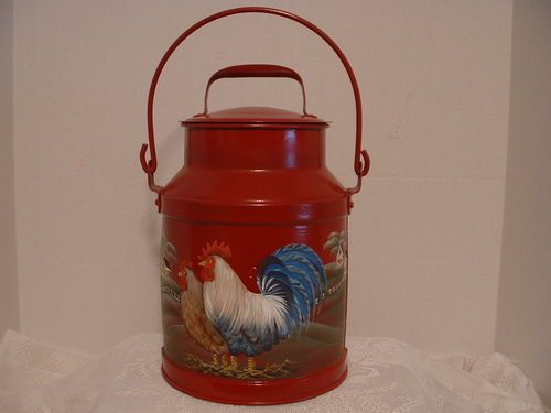 VINTAGE METAL 4 QT. MILK CREAM CAN ROOSTER HEN COUNTRY FARMS FOLK ART BY JMD