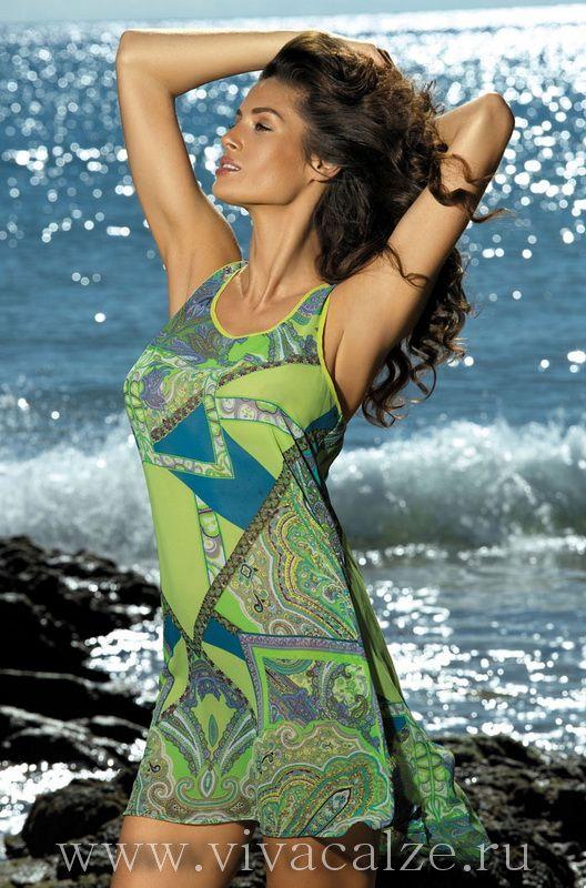 17181 Пляжное платье Пляжная коллекция CATALONIA.  Пляжное платье Миа-Миа из шифона с актуальным этно-принтом в модных оттенках.