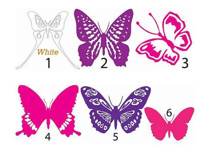 6 Butterfly Wall Stickers for the room.  (6 Butterflies to a pack)