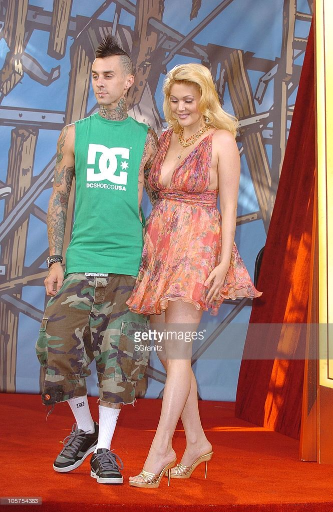 Travis Barker and Shanna Moakler during 2005 MTV Movie Awards - Arrivals at Shrine Auditorium in Los Angeles, California, United States.