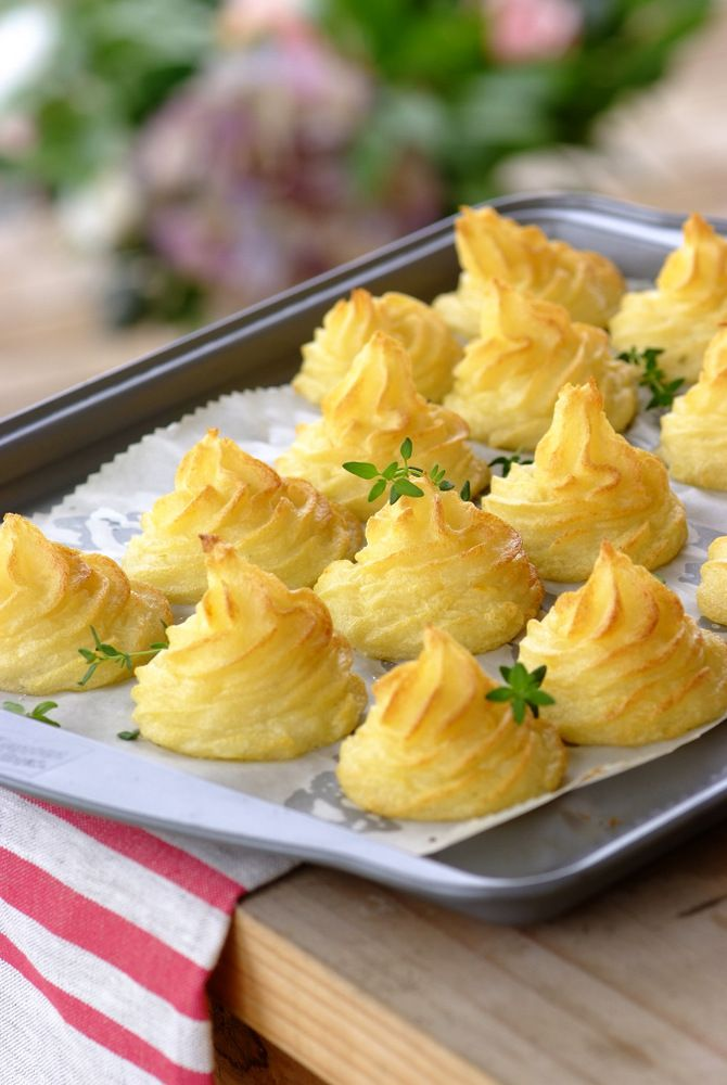 Duchess Potatoes: how about putting these elegant piped towers of mashed potato on your festive table? What's great about this recipe is that you can prepare them well in advance, then pop them into the oven when your guests arrive. Three cheers for Chef Wendy! #FestiveFood