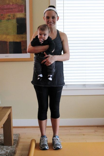5 excercises to do with baby (Leg Lifts, Push ups, Side swing, arm curls, Single leg Squats)