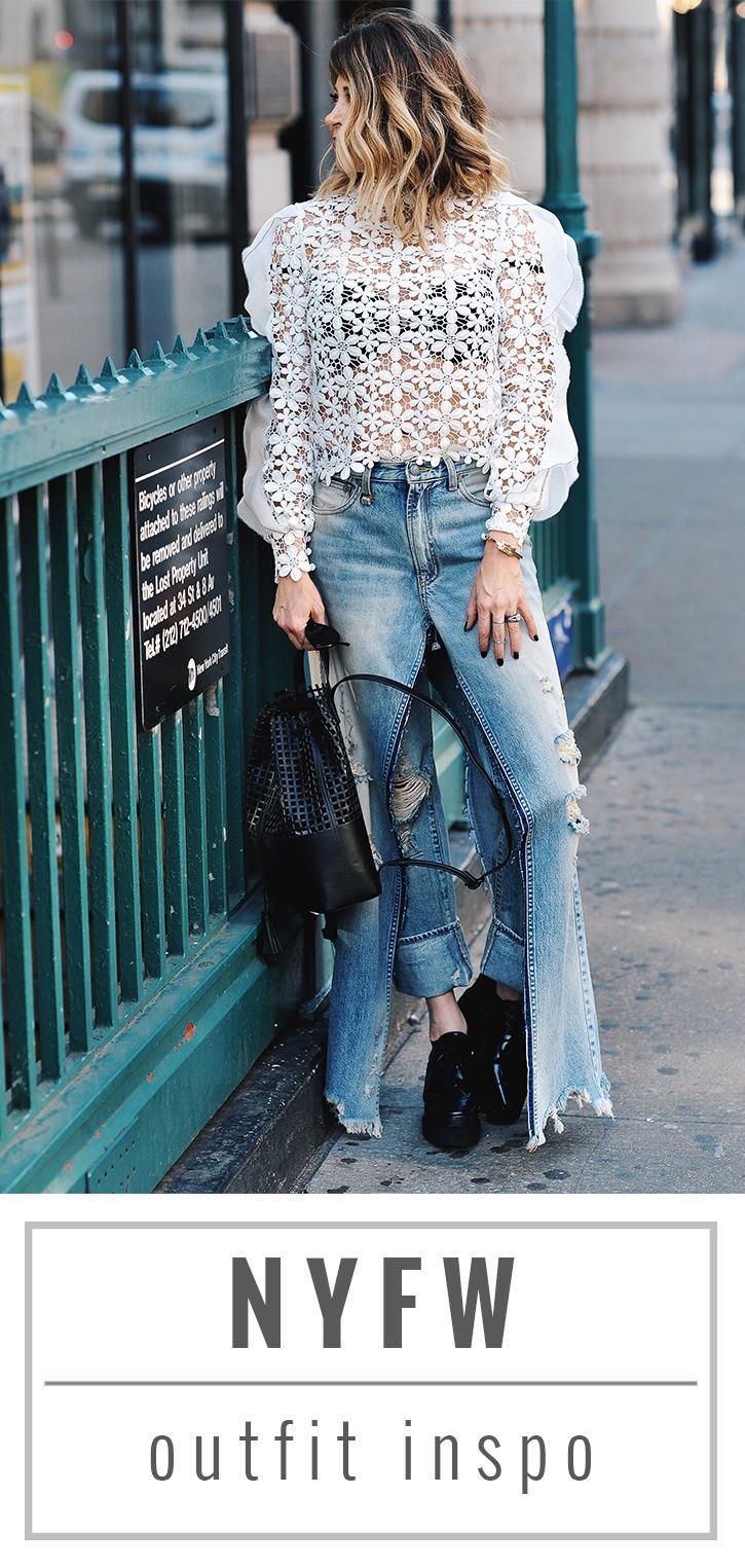 Self Portrait Floral top // R13 skirt denim // Stella McCartney star platforms // Blogger Lindsey Lutz from Life Lutzurious provides her 8 NYFW shopping tips, fall 2017 fashion week trends, and NYFW outfit inspiration