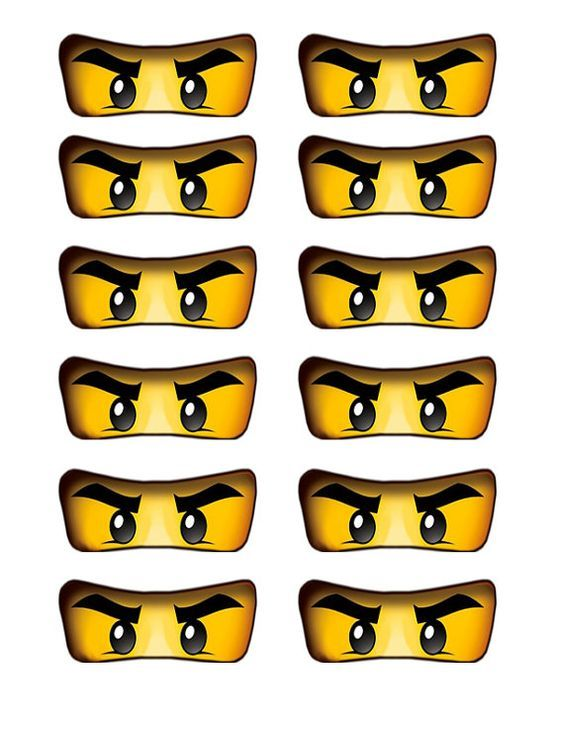 Lego ninjago eyes cutout for birthday party balloons, cake, cupcakes, water bottles, etc.: