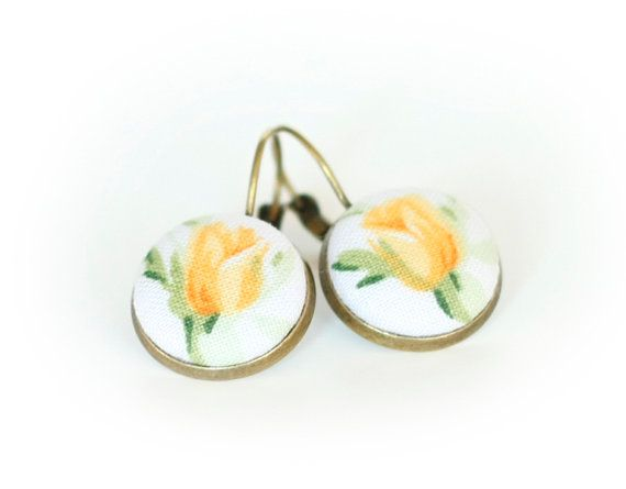Leverback Earrings  Yellow Roses  Yellow by PatchworkMillJewelry, $12.00