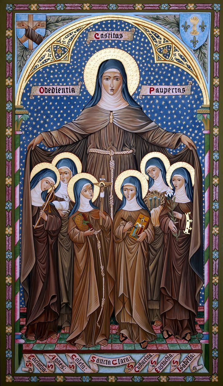 """nun-spam:  """"Saint Clare of Assisi, foundress of the Poor Clare nuns (Franciscans) with Franciscan Saints"""""""
