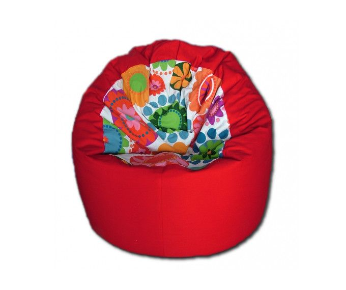 Red bean bag with colorful flowers