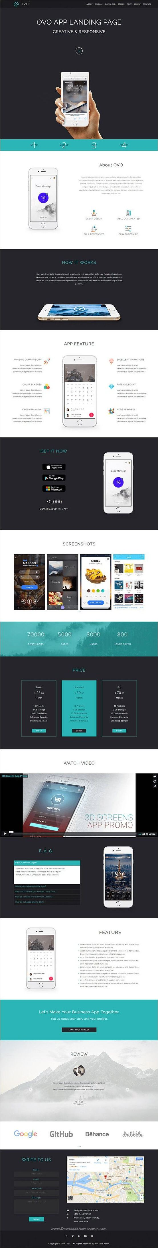 Ovo is clean and modern design responsive #Adobe #muse template for creative #app landing page website download now..