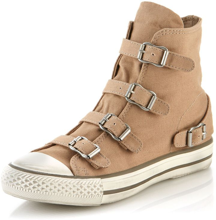Ash Virgin Buckled Sneaker, Chamois #tan #sneakers #shoes #fashion #buckles