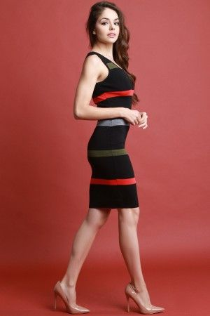 Striped Sleeveless Sweater Dress