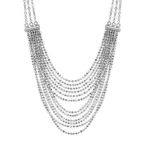 "Italian Sterling Silver Multi-Strand Diamond Cut Bead Necklace, 18"" Amazon Curated Collection. Save 63 Off!. $139.00. Made in Italy"
