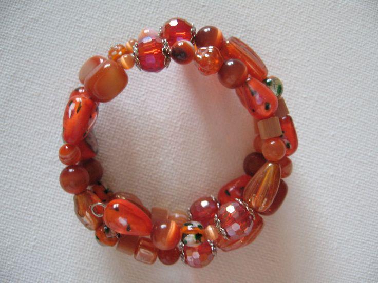 all shades of orange - wrap around bracelet