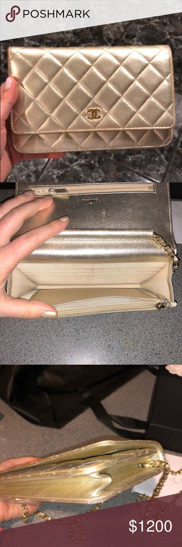 Gold 100% authentic Chanel wallet on a chain For sale is a beautiful light gold wallet on a chain. 100% authentic. Comes with box, dust cloth and authenticity card. CHANEL Bags Crossbody Bags