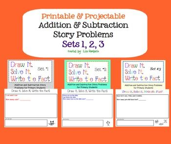 Printable Addition & Subtraction Story Problems SETS 1-3 (bundle) Simple addition and subtraction story problems for k-1 $