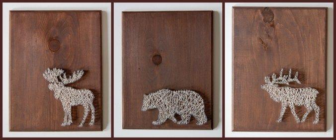 Moose, bear, elk animal nail and string art on wooden pallets