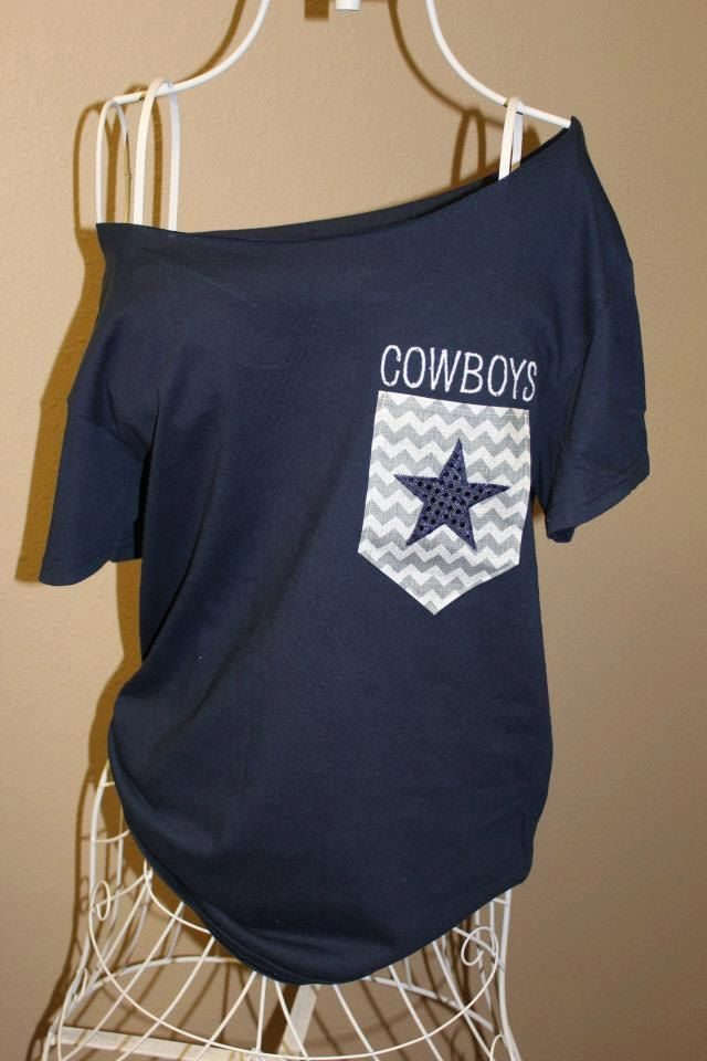 Dallas Cowboys Pocket OfftheShoulder Shirt by SewSnazzybyBrook, $32.00