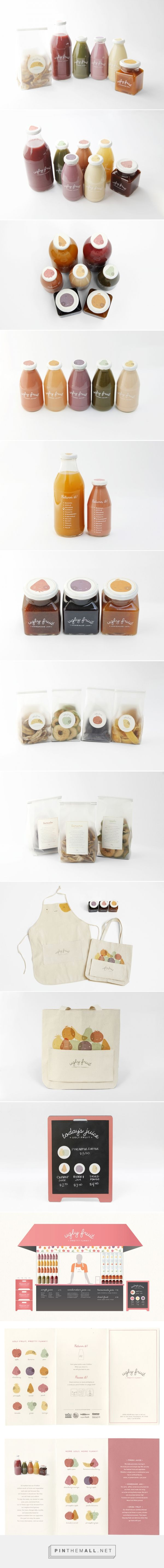 Ugly Fruit by Miram Seo curated by Packaging Diva PD. Ugly Fruit makes juice, jams, and dried fruits out of unattractive produce donated from neighborhood grocery stores. Ugly fruit, pretty yummy packaging branding idea.