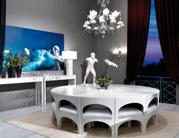 high end modern dining table. visionnaire coliseum luxury italian designer dining table in white veneered plain wood with inlayed zodiac signs. high end modern p