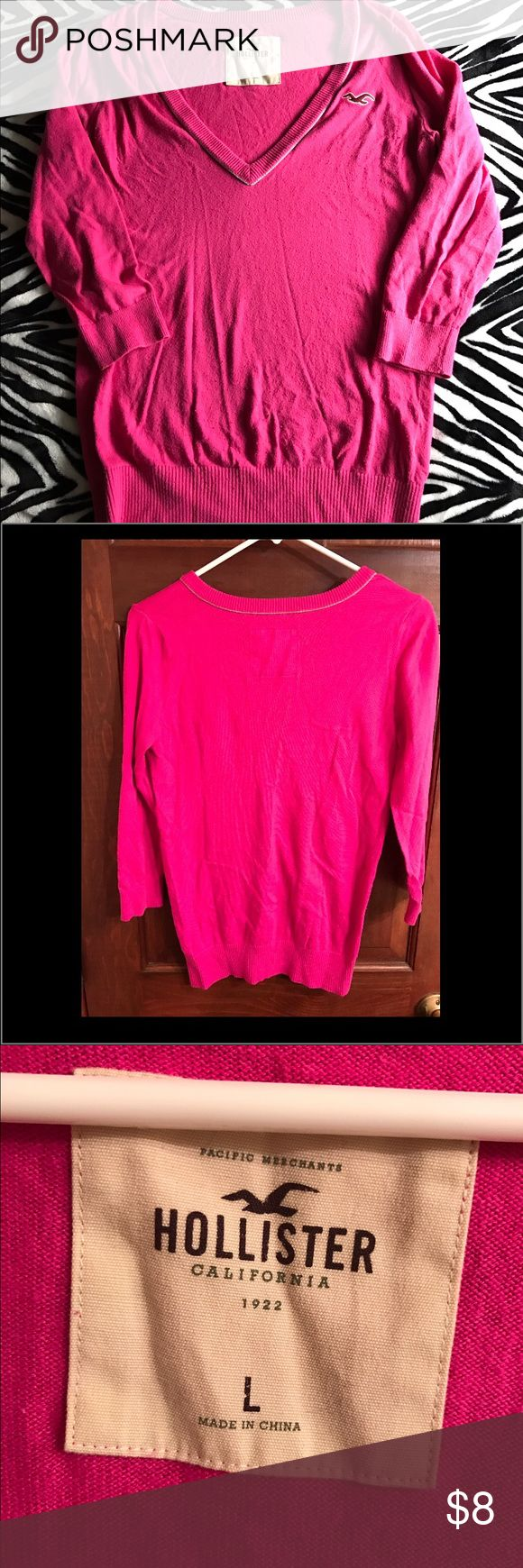 Pink Hollister Cardigan Sweater Pink cardigan sweater with a v-neck. It's warm and not picky. There is piling around the armpit area and toward the bottom of the sweater...most of which can be plucked right off! Hollister Sweaters Cardigans