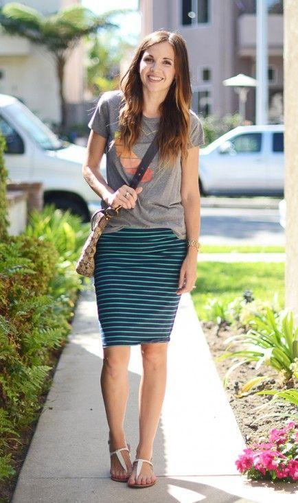 Graphic T + Striped Pencil Skirt   Cute Skirt u0026 Dress Outfits   Pinterest   Pencil skirts ...