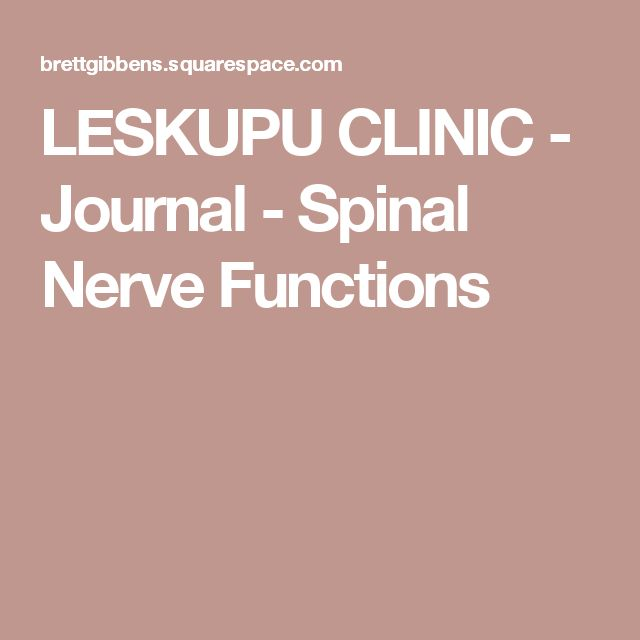 LESKUPU CLINIC  - Journal - Spinal NerveFunctions