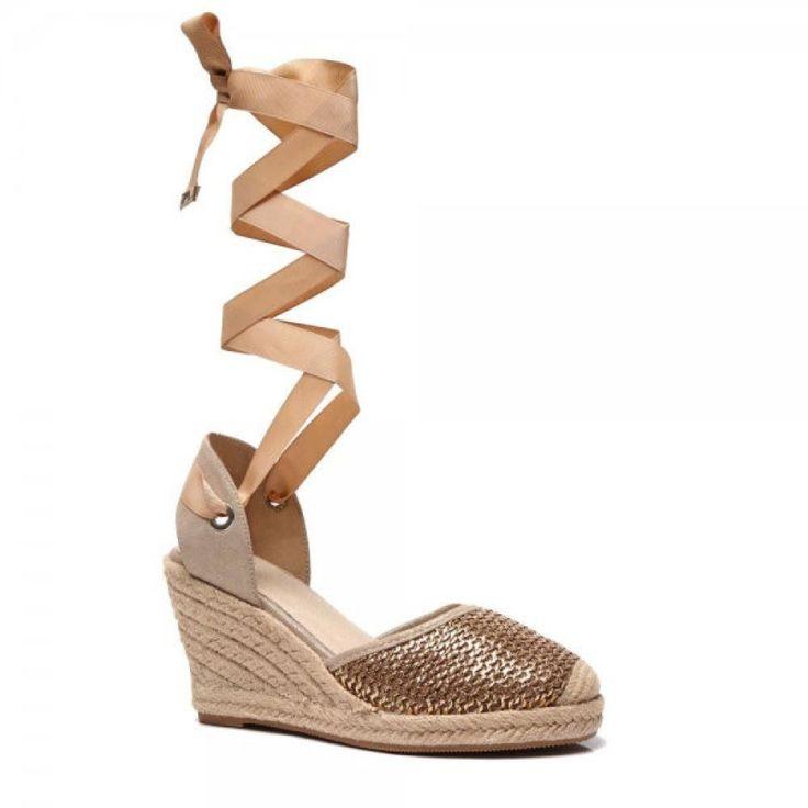 Aktuelle Damen Freizeitschuhe Schuhe Keilabsatz Wedges Sneakers 8853 Beige 37