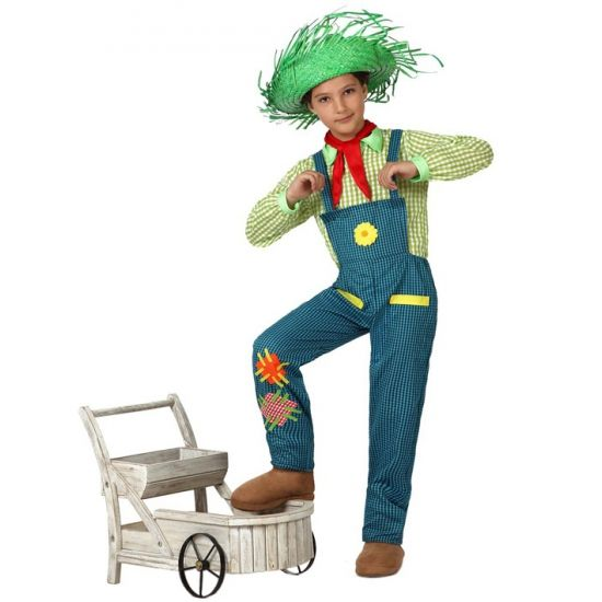 Boeren jongen kostuum. Ouderwetse boeren jongen kostuum voor kinderen inclusief blouse, tuinbroek en sjaaltje. Verkrijgbaar in verschillende maten.