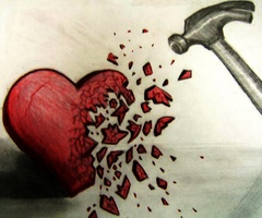 at the top of the heart have half a bottle and the heart and bottle shatter together with beautiful disaster underneath..