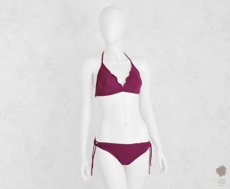 Capri Lampone Bikini Beachwear - Triangle bikini top in microfiber, solid color, ruched underwire bikini top and ruched bikini bottom with side links
