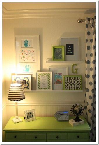 shelf display over dresser