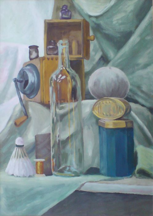 The bottle, the metal box and a coffee grinder #metalbox #academicart #coffeegrinder #TraditionalArt #Paintings #art