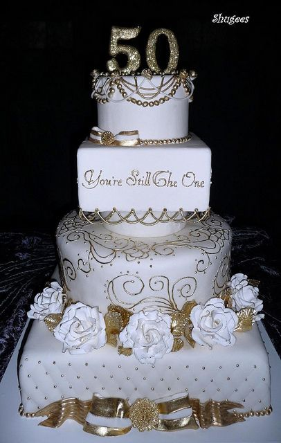 "Just the quote...""You're still the one"" 50th Wedding Anniversary Cake"