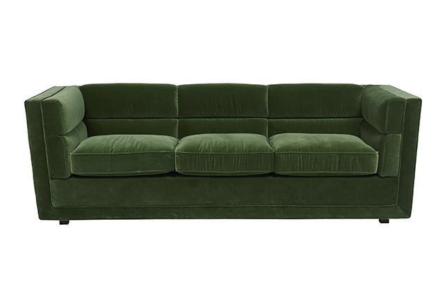 Bogart Block Sofa #globewest #velvet #jeweltones #emerald #interior #decor #luxe #classic