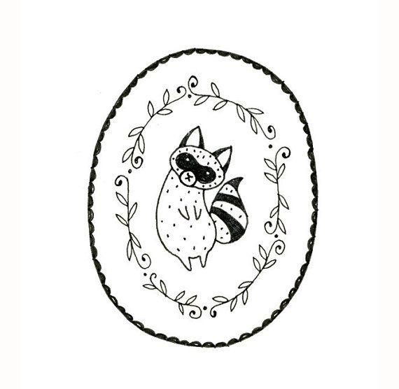 Raccoon Embroidery Pattern PDF Digital Downloadable 0001