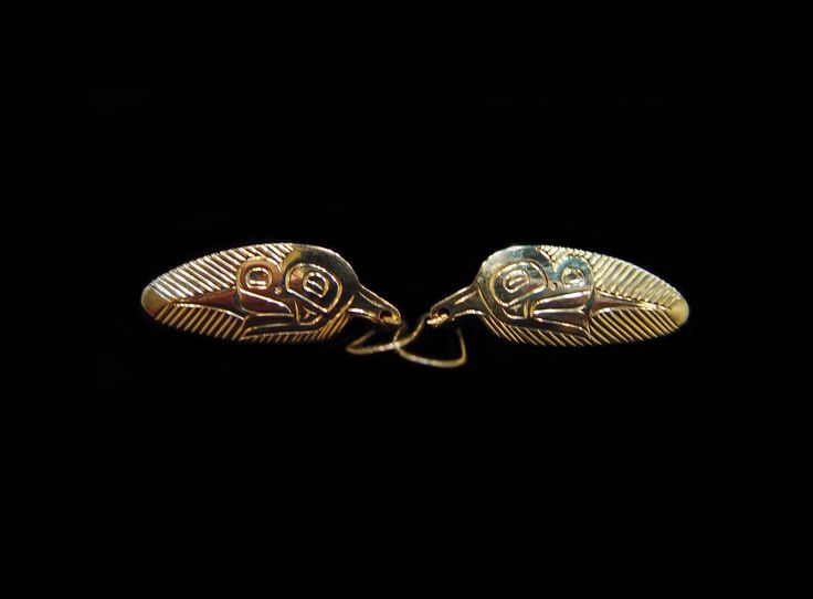 """Gold Earring, with Sheperd hooks. Made of 14kt gold, by Ron Sebastian, a Gitksan artist. Frog design. Measuring 1.25"""" X 0.38"""". Northwest Coast First Nations Jewelry."""