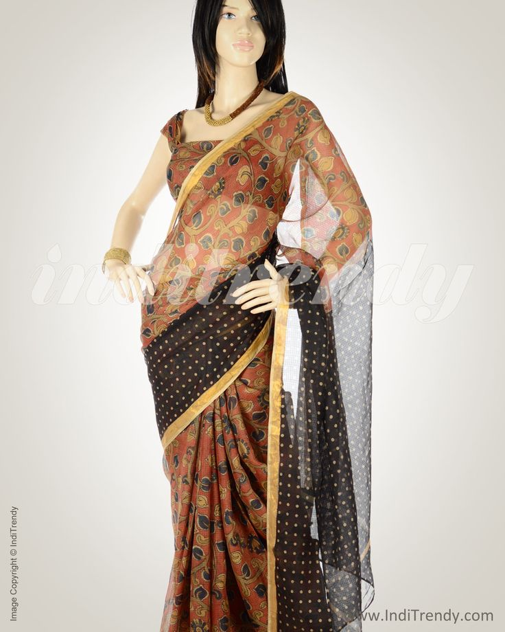 Flowing pure Silk kota saree with Kalamkari  #kalamkari #handpainting #labouroflove #handwoven #inditrendy #shoponline