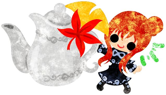 "フリーのイラスト素材秋と女の子の可愛いイラスト -紅葉のティーポット-  Free Illustration ""The cute illustration of autumn and girl -Teapot of colored leaves-   http://ift.tt/2fuuslu"