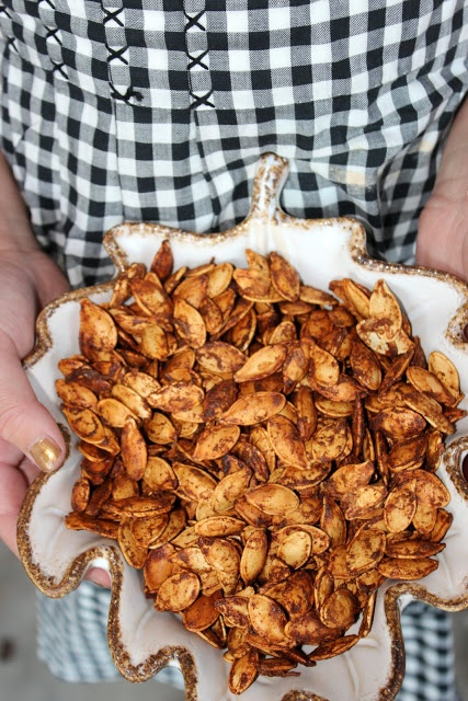 Worcestershire cinnamon roasted pumpkin seeds - very interesting combo. I want to try it!
