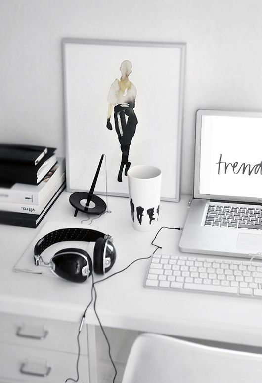 A chic black and white work space. Office