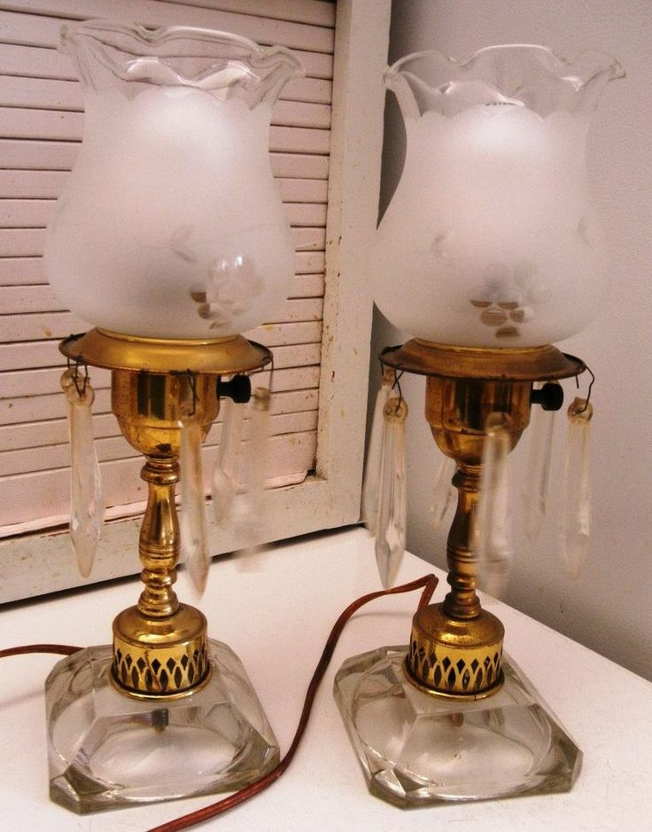 Pair Of Antique Boudoir Table Lamps With Hanging Crystal Prisms