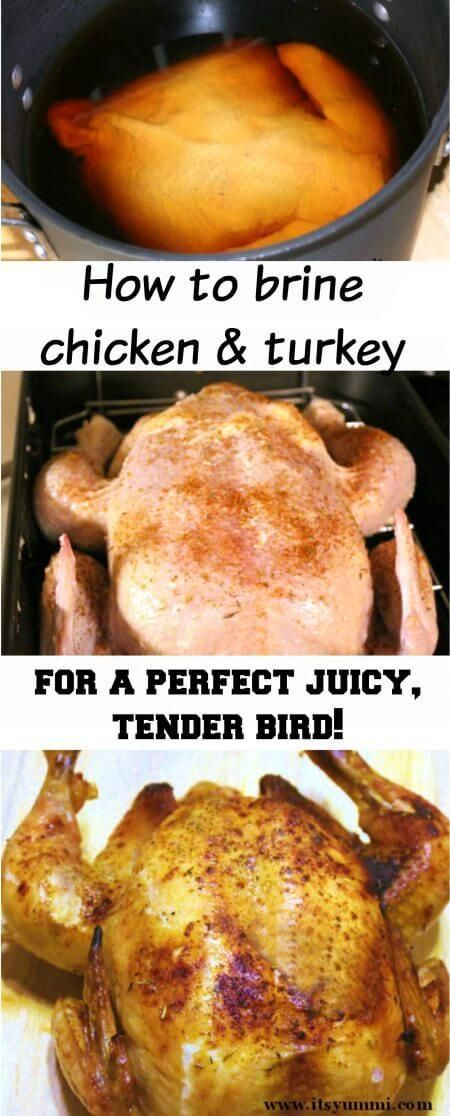 Brining Poultry makes it tender and juicy. Learn how to brine turkey or chicken with this delicious recipe.