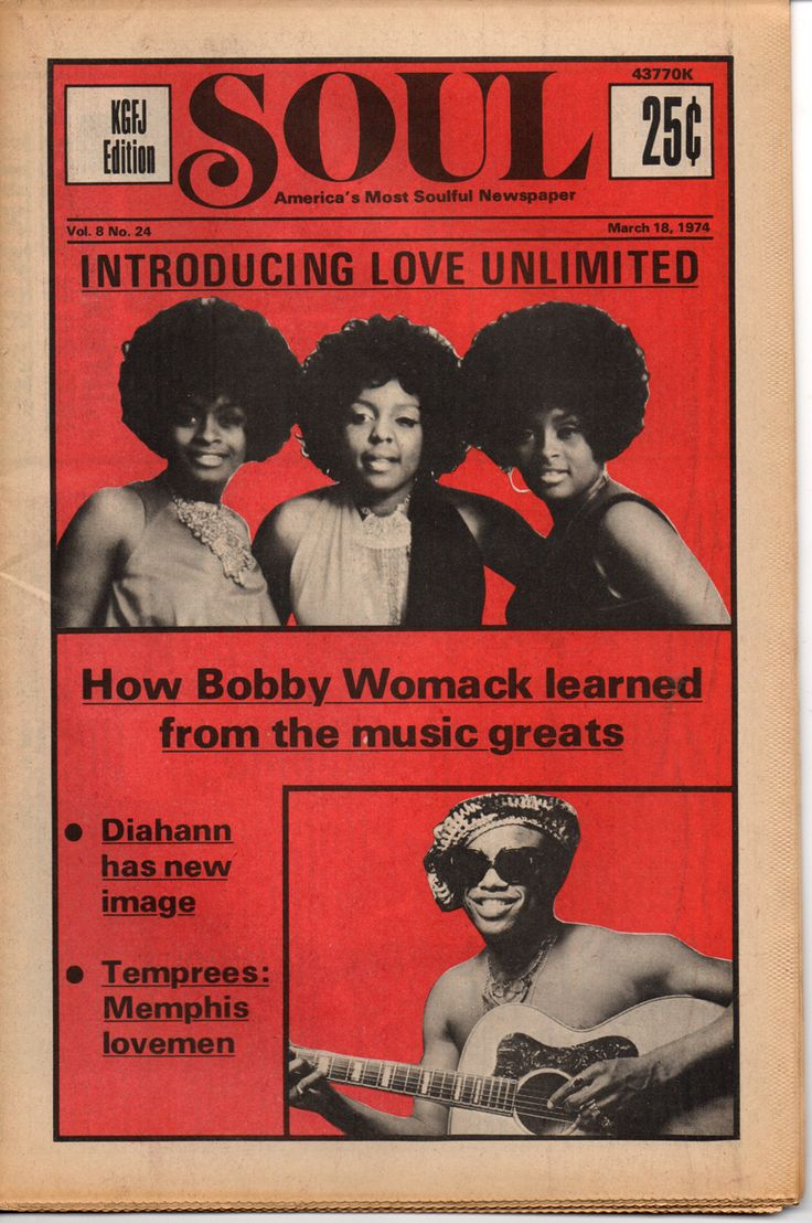 SOUL — America's Most Soulful Newspaper, March 18, 1974 — Love Unlimited & Bobby Womack
