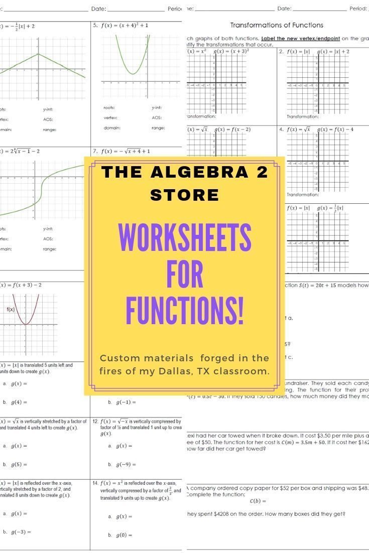 Custom Algebra 2 Worksheets Designed To Develop Mastery Of Functions Through Function Notation Analyzing Graphs Inverse Functions Algebra Worksheets Graphing