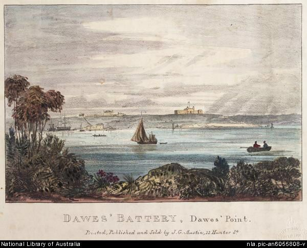 Dawes' Point Battery, Dawes' Point 1836